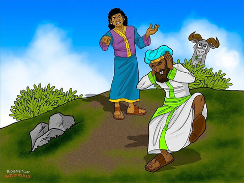 """King Balak was furious. He thumped his fists on the ground. 'I told you to curse the Israelites, but you have blessed them three times! I was going to give you great riches, but God has stopped you from getting the reward. Now go home!'<br/>Balaam took a deep breath. 'Listen to me,' he said. 'I told your messengers that even if you gave me great riches I could not disobey the God of Abraham, Isaac, and Jacob. I will go home, but first I have another warning from God.' <br/>The king was not sure if he wanted to hear what Balaam had to say. He feared the prophet had more bad news. But it was too late. 'A Messiah will come out of Israel and destroy its enemies,"""" continued Balaam, """"including your people in the land of Moab.' <br/>The king gasped and covered his ears. This was not the message he wanted to hear. 'What are you saying?!' he shouted. 'Stop! I don't want to hear any more. Just go home!' – Slide 14"""