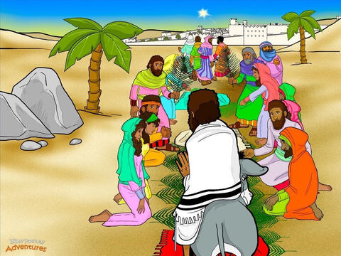 "Early the next morning, Yeshua's disciples found a young donkey for Him to ride on. As they neared Jerusalem, a crowd rushed out to meet Him. ""Here is the Messiah,"" they cried. Waving branches cut down from palm trees, they shouted, ""Baruch Haba Be'shem Adonai! Blessed is He who comes in the name of Yah!"" <br/>Yeshua's disciples ran ahead, shouting and praising Yah at the top of their voices. ""Blessed is the King who comes!"" People covered the road with palm branches and clothing to make a royal carpet to welcome Yeshua. ""Here is the long-awaited Messiah. Please deliver us!"" <br/>A group of religious leaders heard the disciples praising Yah. ""Teacher, tell your disciples to be quiet,"" they said. But Yeshua was not worried. ""I tell you the truth. If My disciples were quiet, the very stones would cry out!"" he said. More people poured out of the city to see what the fuss was about. ""Who is this man?"" they asked. ""This is the prophet Yeshua, from Galilee. He is the promised Messiah."" – Slide 5"