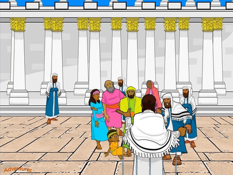 "That week, Yeshua visited the Temple to teach everyone about Yah their God. Many people came to hear Him speak and see if He would perform miracles. He told stories to teach the people God's Ways and how Yah wanted them to behave. <br/>When the religious leaders saw the crowds around Yeshua, they sent spies to trick Him with hard questions so they could arrest Him for speaking against God. ""Teacher, we know you teach God's laws. Is it against our law to pay taxes to Caesar?"" Yeshua knew the religious leaders taught His Father's laws but did not obey them. ""Why do you hypocrites try and trick Me? Give to Caesar what is Caesars', and give to Yah what is His."" <br/>Another man asked, ""Which commandment of God is the most important?"" Yeshua answered, ""Hear, O Israel. You shall love God with all your heart, soul, and mind. This is the first and greatest commandment. The second is to love your neighbour like yourself. All of God's instructions are based on these two commandments."" The religious leaders grit their teeth. Even though Yeshua spoke against their rules and traditions, He still obeyed and taught what was written in the Scriptures. They could not find even one reason to arrest Him. – Slide 7"