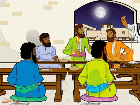 "At the beginning of the day of Passover preparation, Yeshua and His disciples met at a house in Jerusalem for a meal. Yeshua said to them, ""I wanted to eat the Passover meal with you before I die. But I will not eat it again until we eat together in my Father's Kingdom."" Yeshua took a cup of wine, spoke a blessing, and passed the cup around the room. ""Take this and drink it."" Then He took some bread and blessed it. ""From now on, do this to remember Me."" Breaking the bread into pieces, He gave it to the disciples. ""Take this and eat it. This represents My body which is being broken for you."" <br/>As the disciples ate, Yeshua rose from the table. Pouring water into a basin, He began to wash His disciples' feet. ""No,"" said Peter, one of the disciples. ""You shall never wash my feet! This is the work of a servant!"" Yeshua answered, ""If you do not let Me wash your feet, you can no longer be My disciple."" <br/>Then Yeshua said to them, ""Tonight, one of you will betray Me."" The disciples stopped eating. ""Master, who would do such a thing?"" They stared at each other suspiciously. ""Is it him? Is it me?"" Yeshua said, ""It is the one to whom I give this bread."". He took a piece of bread, dipped it in olive oil and handed it to Judas. ""Do what you have to do."" It was already in Judas' heart to betray Yeshua. He slipped out of the room and into the darkness. It was time to betray the king. – Slide 8"