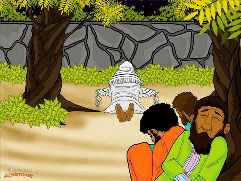 "Yeshua continued teaching His disciples. Then He led them out through the city gates to an olive garden called Gethsemane where He often went to pray. ""Tonight all of you will run away and leave Me,"" He said. Peter shook his head. ""Impossible! Even if everyone runs away, I will never leave you!"" Yeshua smiled at Peter sadly. ""This day before you hear the Temple Crier, you will deny knowing Me three times."" <br/>Yeshua took his closest disciples, Peter, James, and John, deeper into the garden. ""Wait here. Keep watch while I pray."" He walked a little further and fell to the ground. ""Father, all things are possible for You. Please don't make Me do this. But I will do what You want Me to do,"" He prayed. Yeshua understood He was about to die so Yah's promise to restore His people could be fulfilled. Sweat ran down His face like drops of blood and splashed on the ground. He prayed even harder. ""If I must die, then let it be according to Your will."" <br/>Yeshua returned to the three disciples and found them fast asleep. ""Could you not keep watch for even one hour? Keep watch while I pray."" Again He went away to pray, and again the disciples fell asleep. The third time this happened, Yeshua said, ""Get up! The one who is betraying Me is here!"" – Slide 9"
