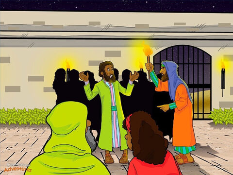 "While the religious leaders questioned Yeshua, Peter warmed himself near the fire in the courtyard below. It was early in the morning, but everyone was wide-awake. Servants hurried to and fro. Guards stood at attention. Everyone knew that something was up. A servant girl guarding the gate stared at Peter. ""Aren't you one of Yeshua's disciples?"" she asked. Peter shook his head. ""No,"" he told her. ""I don't know who you are talking about."" <br/>The servant girl wasn't sure if she believed Peter. Speaking to the men standing near the fire, she pointed at Peter and said, ""This man is a disciple of Yeshua from Galilee."" So they asked him, ""Are you one of His disciples?"" Again, Peter shook his head. ""No, I am not,"" he said. A little while later, another servant came up to Peter and said, ""I saw you in Gethsemane with Yeshua. You must be one of His disciples."" Peter turned to the servant angrily. ""Look,"" he said. ""I do not know this man!"" <br/>Out of the darkness, the Temple Crier's voice echoed over the city. ""All the priests prepare to sacrifice. All the Israelites come to worship."" Peter looked up and froze. Across the courtyard, the guards were leading Yeshua away. At that moment, Yeshua turned and stared straight at Peter. And Peter remembered what He had been told. ""This day before you hear the Temple Crier, you will deny knowing Me three times."" – Slide 13"