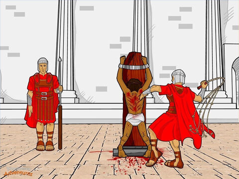 "After Herod Antipas had finished mocking Yeshua, he sent Him back to Pilate to make a decision. ""This man has done nothing wrong,"" Pilate told the crowd. ""Even Herod Antipas agrees with me. I will punish Him and set Him free."" The religious leaders did not want Yeshua set free. Once again they encouraged the crowd to ask for Barabbas. ""Free Barabbas for us!"" the people shouted louder than before. ""Crucify Yeshua!"" <br/>As Pilate gazed out on the crowd, his wife sent him an urgent message. ""Leave that innocent man alone. I suffered a terrible nightmare last night because of Him."" Pilate cracked his knuckles and thought for a moment. The crowd was growing bigger and bigger. He had to do something before the people started to riot. ""Take Him away and whip Him!"" he ordered the soldiers. <br/>The Roman soldiers quickly obeyed and took Yeshua to their quarters. They stripped Him, dressed Him in a purple robe, and put a crown of thorns on His head. ""All hail the King of the Jews!"" they said as they whipped and mocked Him. Then they sent Him back to Pilate, beaten and weary. – Slide 16"