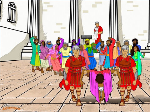 "Pilate sat on the judgment seat outside the palace. Yeshua stood beside him, still wearing a crown of thorns like a king. The crowd pushed and shoved their way forward, shouting, ""Crucify Him! Put Him to death on the stake!"" Stirred up by the religious leaders, they began to riot. Pilate had to act fast! ""Which man do you want me to set free? Barabbas or the King of the Jews?"" ""Free Barabbas! Free Barabbas!"" the crowd shouted at the top of their voices. <br/>""If you let this man go, you are no friend of Caesars,"" insisted the religious leaders. ""The only king we have is Caesar."" Pilate glanced at Yeshua. He did not want to send this man to His death. ""He has done nothing wrong. Barabbas is the guilty one,"" he muttered. He stared at the crowd, trying to decide what to do next. <br/>Finally, Pilate rose to his feet. With a heavy heart, he reached for a bowl of water and slowly washed his hands. ""I am innocent of killing this man. You kill Him,"" he shouted to the crowd. ""Let His blood be on us and on our children,"" the crowd shouted back. Pilate could see there was no use arguing with the people. They had made up their minds that Yeshua had to die. Raising his hand to silence them, he made a decision. ""Release the prisoner, Barabbas,"" he shouted. ""Crucify the king of the Jews."" – Slide 17"