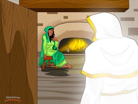 """One cold winter's night in Nazareth, a young Hebrew woman named Mary sat by the fire, warming her feet. Suddenly, an angel of God appeared in the doorway. Mary looked up and gasped. """"Who are you?"""" she cried. She had never seen an angel before. <br/>""""Don't be afraid,"""" said the angel, whose name was Gabriel. """"Yah is happy with you. You have been chosen to have a baby boy. You will call Him Yeshua and He will be the Son of the Most High."""" <br/>""""How can I have a baby?"""" asked Mary. """"I'm not married yet."""" The angel looked at Mary and smiled. """"Yah will send His Holy Spirit to give you this baby."""" Mary stared at the angel, wide-eyed. She was more puzzled than ever. """"Remember your cousin Elizabeth?"""" continued Gabriel. """"Everyone knew she couldn't have children, but now she's six months pregnant. With God, nothing is impossible!"""" <br/>(Did you know that Jesus' Hebrew name is Yeshua? His full name is Yehoshua, which means, 'God is my Salvation') – Slide 1"""
