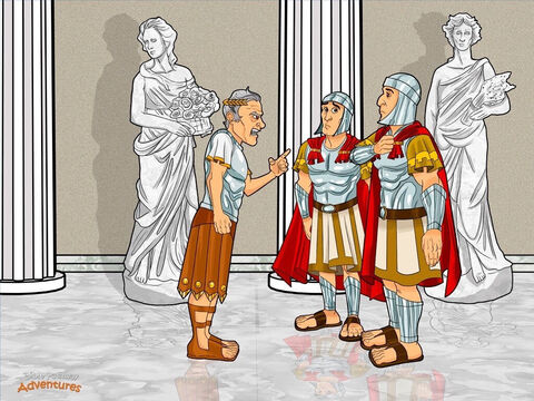 """Later that year, Caesar Augustus – the ruler of the powerful Roman Empire – ordered a census. The Romans ruled Judea and the Hebrews were forced to obey Rome's strict laws. Caesar wanted to know how many people he governed and how many he could tax. After all, there were lots of roads to build! <br/>""""Everyone must go back to his home town and register for the census,"""" Caesar announced from his palace in Rome. <br/>Because Joseph was a descendant of King David, he had to travel to Bethlehem, the town where David grew up. But Bethlehem was far away, and Mary needed to arrive before the baby was born. Joseph packed their bags, put Mary on a donkey, and set out for Bethlehem along a dusty dirt path. – Slide 4"""