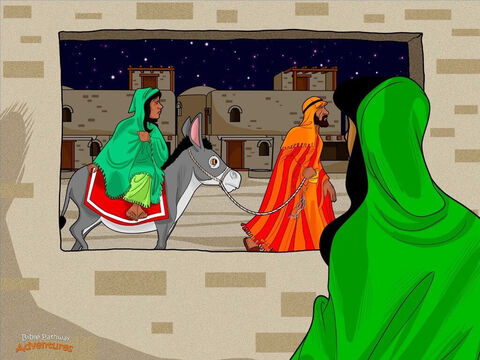 """After a long journey, Mary and Joseph finally reached the gate of Bethlehem. People welcomed them with open arms. """"Shalom, shalom,"""" they cried. """"Barukh haba! Welcome!"""" <br/>Joseph knew God's Fall Appointed Times were about to start. Homes would soon be filled with guests. They needed to find a room fast. He trudged wearily through the crowded streets, looking for a place to stay. <br/>Glowing oil lamps lit the homes of Bethlehem. Grey wisps of smoke curled high in the air. Soon Joseph found a place to stay. Because the upper room was full of people, Mary and Joseph were given space downstairs near the animals to sleep. <br/>Mary rubbed her stomach and smiled. She was grateful for somewhere to stay. She sat in the courtyard, watching the women bake bread over the crackling fire. The Day of Trumpets was about to begin and the villagers had plenty to do. Mary could feel the excitement in the air. – Slide 5"""