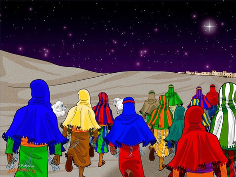 """All at once, the sky lit up with an army of angels praising God and singing, """"Glory to God! And on earth, peace and goodwill among the people!"""" <br/>The shepherds shook their heads in amazement. """"Well, what are we waiting for?"""" they asked one another. """"Let's go and see the Messiah!"""" <br/>They hurried to Bethlehem and found the place where Mary and Joseph were staying. The baby boy was fast asleep in a manger, just as the angel had told them. <br/>Staring down at the sleeping baby, the shepherds said, """"An angel appeared in the fields and told us this Child was the Messiah!"""" Everyone crowded around the shepherds and listened carefully. They had been waiting all their lives for a Messiah to rescue them from the Romans. Now He was finally here! – Slide 8"""