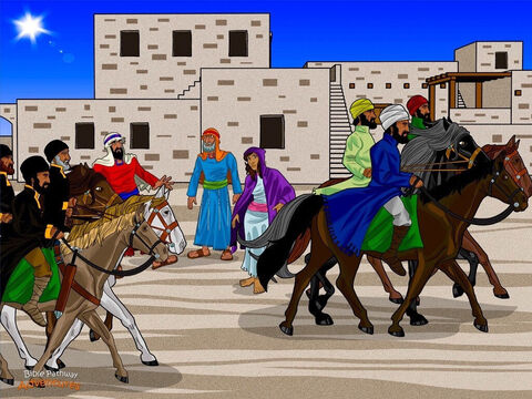 """Many months later, the Magi made their way along the stony roads toward Jerusalem. It was summer now and Judea was as hot as a giant furnace. Thieves roamed the countryside so the Magi were happy to have soldiers with them. <br/>When the Magi reached Jerusalem, they made their way through the crowded city streets to the markets. """"Where is the newborn King of the Jews?"""" they asked. """"We saw His star from the East and have come to worship Him."""" <br/>Crowds gathered in the alleyways and around the market stalls. """"Who are the Parthians talking about?"""" they murmured uneasily. """"Why have they come to Jerusalem?"""" Everyone knew the Parthians and Romans were fierce enemies. – Slide 11"""
