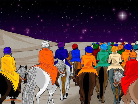 """Outside the palace, the Magi gazed up at the starry night sky. A bright star twinkled over Bethlehem, showing them the way. """"Let's keep following this great sign!"""" they said, excitedly. <br/>The Magi leaped on their horses and trotted through the city streets out into the open countryside. They could hardly wait to see the long-awaited Messiah. <br/>Shepherds in the fields stared wide-eyed as the Magi passed by. """"Why are the Parthians here?"""" they asked each another. The fierce-looking soldiers made them nervous. """"Have they come to see the young boy, Yeshua?"""" – Slide 14"""