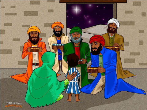 """The Magi followed the star until it appeared over a house in Bethlehem where young Yeshua was staying. Leaping off their horses, they rushed inside to see Him. """"Praise God; this is indeed the Messiah,"""" they said. <br/>The Magi fell to their knees and worshipped Yeshua with all their heart. Then with trembling hands, they opened their bags and handed him precious gifts of gold, frankincense, and myrrh. <br/>But the Magi didn't stay long. God had warned them not to return to King Herod. Before he could find them, the Magi sped back to Parthia as fast as their horses could gallop. – Slide 15"""