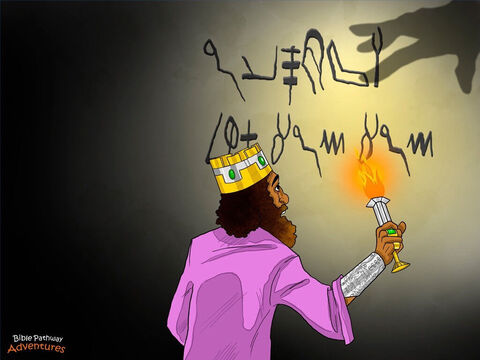 "Yah was not happy with King Belshazzar's bad behavior. He did not want the gold and silver cups from His Temple used to mock Him. While the people were eating and singing, the fingers of a human hand suddenly appeared from nowhere and wrote four strange words on the wall near the king. <br/>The king stopped drinking, the princes stopped singing, and the musicians stopped playing their instruments. <br/>Snatching a lamp from the table, King Belshazzar strode over to the wall and peered at the strange words. His face grew pale and his knees began to knock with fear. ""What does the writing say?"" he shouted to his officials. ""Fetch the Magi so they can tell me what these words mean."" – Slide 6"