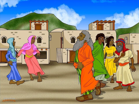 """Samuel quickly obeyed Yah and hurried to Bethlehem. When he reached the gate of Bethlehem, the elders rushed out to greet him. """"Why are you here?"""" they asked, their hands shaking. """"Have you come in peace?"""" The elders had good reason to feel nervous. Samuel wasn't just a prophet; he was a judge and an army commander, too. <br/>""""Don't be afraid,"""" Samuel told the men. """"I'm here to offer a sacrifice to Yah. Come and join me."""" Samuel invited Jesse and his sons to the sacrifice, too. """"Yah will choose the next king of Israel from among your sons,"""" he told Jesse privately. <br/>When Jesse and his sons arrived at the sacrifice, Samuel looked at Eliab, the oldest son. Hmmm…this man is tall and handsome and looks like a king, he thought. He must be the man that Yah has chosen. – Slide 3"""