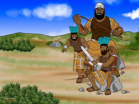 One day, the Israelites gathered together in the Elah Valley to fight their enemy, the fearsome Philistines. Nobody liked the Philistines much. They were wicked and cruel, and they liked a good fight. <br/>Saul glared across the valley at the Philistine army. They had lots of chariots and more soldiers than he could count. He grabbed his sword and quickly prepared for battle. <br/>Saul didn't know it yet, but the Philistines had a fearsome warrior on their side. His name was Goliath and he was as tall as a house! Everyone was afraid of him, and nobody came near him. Goliath was stronger than any man in the land of Israel. – Slide 7