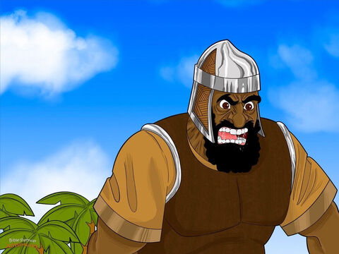 """""""Why are you lined up for battle?"""" Goliath shouted to the Israelites. He had been threatening the Israelites for forty days, and he was growing impatient. """"Come and fight me, you cowards!"""" <br/>You would think the Israelites were used to hearing Goliath's threats, but they were even more frightened than before. They ran back to the camp as fast as their wobbly legs could carry them. <br/>""""That giant is a monster!"""" cried the soldiers. """"If we could only kill him, we could get the reward the king promised!"""" David turned to the soldiers. """"What's the reward for killing Goliath?"""" he asked. """"Besides, who is this Philistine that dares to challenge the army of the living Elohim?"""" – Slide 10"""