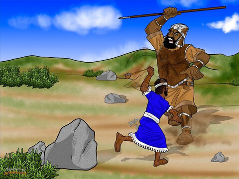 Goliath had heard enough. Lifting his spear a little higher, he stomped toward David. Clouds of dust rose with each step the giant made, but David wasn't afraid. He took a stone from his bag, put it in his sling, and swung it three times above his head. Whoosh! Whoosh! Whoosh! <br/>David aimed the stone at the giant. It whizzed through the air like a rocket and smacked Goliath in the middle of his huge, hairy forehead. Goliath stumbled forward and crashed to the ground with a thud. <br/>The Philistine soldiers stared at David in amazement. They couldn't believe the young shepherd had overpowered their great giant. David had beaten the mighty Philistine with just a sling and a stone! – Slide 15