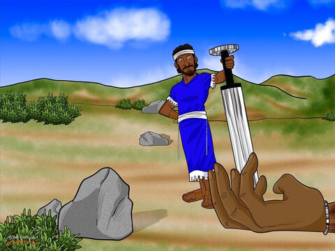 """David ran over to Goliath. """"Now do you believe me?"""" he said. He pulled out the giant's sword and chopped off his head. The Israelite army let out a cheer. """"Yah has given Goliath into our hands!"""" they shouted. <br/>When the Philistines saw their hero was dead, they turned and ran away as fast as they could. But the Israelites didn't let them escape so easily. They picked up their weapons and chased the Philistine soldiers all the way back to their homes. – Slide 16"""