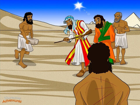 "But Yah hardened Pharaoh's heart and he became very stubborn. ""Who's this god of the Hebrews? I don't know him and I'm not letting anyone go. I need them to work for me!"" <br/>Pharaoh spoke to his slave masters. ""Don't give the lazy Hebrews any straw,"" he told them. ""They can get it themselves. But they must still make the same number of bricks as before."" <br/>The Hebrew slaves became angry with Moses. They gathered around him, shaking their fists. ""Thanks to you, Pharaoh is working us even harder. You've made our lives worse!"" Moses sighed and stared at the sky. ""Yah, why have You sent me?"" he asked. ""Pharaoh is only making things worse. You haven't helped Your people at all!"" <br/>""Wait and see,"" said Yah. ""By the time I have finished with him, Pharaoh will be glad to see My people leave. Now, go and tell Pharaoh to let My people go."" – Slide 11"