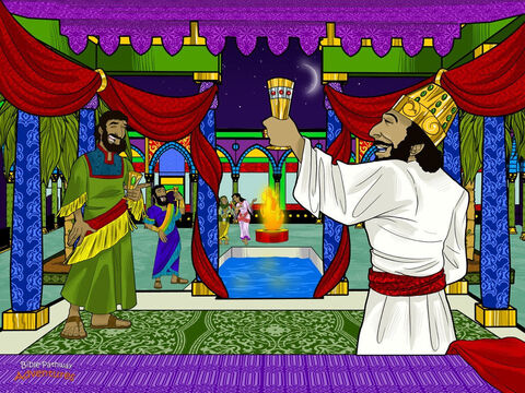 Long ago in the kingdom of Persia there lived a rich and mighty king named Ahasuerus. His kingdom was so big that it stretched from India all the way to Ethiopia. Ahasuerus was the greatest king in the world. <br/>Since the king was so powerful, he could do whatever he pleased. In the third year of his reign, he held a party at his palace in Shushan, the capital city. He invited the princes and leaders of Persia to join him. The princes were excited! They had heard all about the king's wonderful parties. They jumped on horses and raced to Shushan to eat and drink with the king. <br/>The king wanted to show everyone his great wealth. He gave the princes delicious food to eat, the best places to sleep, and the most fun they had ever had. The musicians played their instruments, and everyone sang and danced and drank from cups covered in precious jewels. – Slide 1