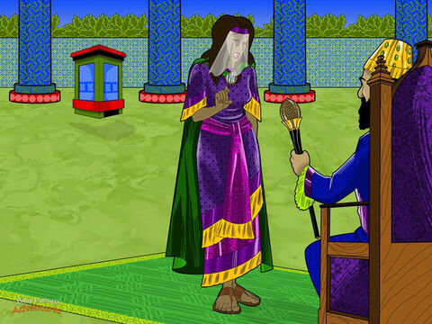 """Three days later, Esther dressed herself in her beautiful royal robes and went into the inner part of the palace to see the king. She was even more scared than before. <br/>But Esther had nothing to worry about. When the king saw his beautiful wife, he was happy. He held out his golden scepter, and said to her, """"What do you want? I will give you anything you ask."""" Esther breathed a sigh of relief. She stepped forward and carefully touched the golden scepter. """"Please come to a banquet I have prepared for you,"""" she said. """"And bring Haman, too."""" <br/>Later that day, the king and Haman attended the queen's banquet. During the meal, the king asked Esther, """"What do you desire?"""" Esther replied, """"Come with Haman to another banquet tomorrow. I will tell you then."""" – Slide 10"""