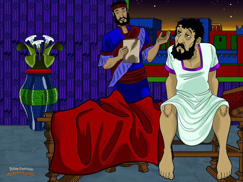 """That night the king tossed and turned in his bed at the palace. He could not sleep. To pass time, he told his servants to read to him from the king's book of records. When the servant read that Mordecai had saved the king's life, the king asked, """"What reward was given to him for this?"""" <br/>""""Nothing has been done,"""" his servant answered. <br/>At that very moment, Haman arrived at the palace to see the king. Before he could say a single word, the king said to him, """"How should I reward a man I wish to honor?"""" <br/>Haman was full of pride. He believed the king was talking about him. """"This man is a hero!"""" he said. """"Dress him in royal robes, put a crown on his head, and take him on horseback through the city."""" – Slide 12"""