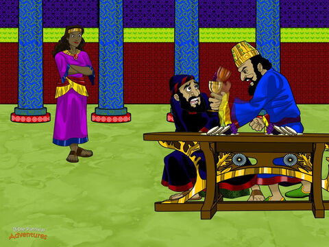"""Later that day, Haman and the king came to the banquet that Esther had prepared. While they were eating and drinking, the king asked Esther again, """"What do you want? I will give you anything you desire."""" <br/>Esther answered, """"Someone wants to destroy me and all the Hebrews in the kingdom. Please save our lives."""" The king threw his hands in the air. """"Who would do such a thing?"""" he cried. Esther pointed straight at Haman. """"Our enemy is the wicked Haman!"""" <br/>""""What?!"""" exploded the king. He slammed his cup of wine on the table. """"Has my faithful servant tricked me?"""" He rose from the table and marched out of the room. <br/>Haman's face turned white. His knees began to knock with fear. He knew he was in big trouble. Throwing himself at Esther's feet, he begged for his life. """"Please don't kill me,"""" he cried. – Slide 14"""