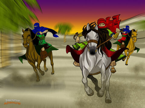 King Ahasuerus quickly agreed to save the Hebrews lives. He made a new law giving them permission to fight back against their enemies. Messengers riding fast horses delivered copies of the law to every province in the kingdom. <br/>When the Hebrews heard about the new law, they were filled with joy. They threw a big party and had a holiday to celebrate. And later that year, on the day they were meant to be killed, the very opposite happened. The Hebrews gathered together in towns and cities and destroyed their enemies. <br/>To celebrate this victory, Esther and Mordecai sent letters to all the Hebrews in the kingdom, telling them to always remember this time when they defeated their enemies. Yah* had used the queen of Persia to save His people. <br/>(*Did you know that Yah is the Hebrew name for God?) – Slide 16