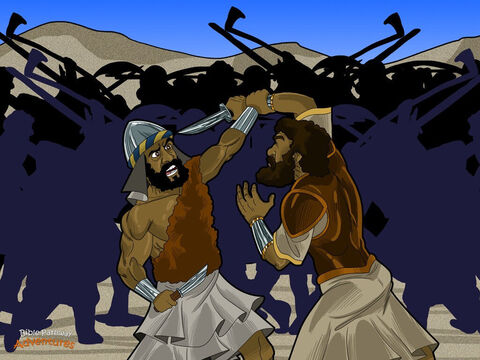 """Moses led the Hebrews through the desert to a place called Rephidim and set up camp. It didn't take long for the people to start grumbling again. """"Moses, we have nothing to drink."""" Moses sighed and stared at the sky. """"God, these people are ready to stone me. What can I do?""""  <br/>""""Strike a rock with the staff,"""" said God. """"Water will come out for everyone to drink."""" Moses obeyed God, and fresh water gushed from the rock. <br/>But the Hebrews' problems were not over. Soon, the bloodthirsty Amalekites appeared on the horizon. When they saw the Hebrews, they said, """"It's time to conquer Egypt!"""" They sharpened their knives, ready for battle.  <br/>Joshua picked the strongest men he could find and led them into battle. As long as Moses held up his arms, the Hebrews won; but when he put down his arms, the Amalekites started winning. When Moses arms grew tired, Aaron and Hur stood beside him and held his arms above his head. With God on their side, the Hebrews fought their enemies and won, and the Amalekites disappeared into the desert. – Slide 6"""