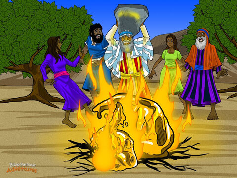 """But Moses still wasn't happy with the Israelites' behaviour. Tucking the stone tablets under his arms, he raced down the mountain back to the camp. When he saw the people worshiping a false god, he threw the tablets on the ground, smashing them into tiny pieces.  <br/>""""Why did you make this calf?"""" he asked Aaron. Aaron hung his head in shame. """"You know what the people are like. The people became afraid so I took their gold and threw it in the fire, and out came this calf…"""" Moses ordered the calf to be melted down and ground into powder. Then, pouring the powder into the water, he ordered everyone to drink it to punish them for what they had done. <br/>Moses pleaded with God to spare the people. But God still punished them for making the calf. He sent a plague to remind the Israelites that He was angry. Then with His own finger, God wrote His Words on a new set of stone tablets. – Slide 12"""