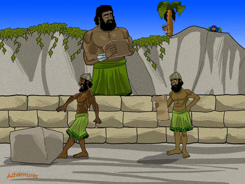 "The Israelites continued their journey through the wilderness. As they neared the land of Canaan, God said to Moses, ""Send twelve men out to explore this land I have promised you."" <br/>Moses chose a spy from each of the twelve tribes of Israel, including two men named Caleb and Joshua. ""I want to know what Canaan looks like,"" Moses told the men. ""Are the people strong? What kind of cities do they live in? If you dare, take some fruit from their vineyards, then come back and tell me everything!"" <br/>For forty days the spies explored the mighty land of Canaan. But they were in for a big surprise. There were fearsome giants as tall as cedar trees. The men had never seen such enormous people! Trembling with fear, they raced back to the camp as fast as their wobbly legs could carry them. – Slide 16"