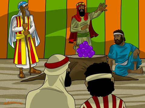 """Back at the camp the spies waved a giant bunch of grapes in front of Moses. """"The land really does flow with milk and honey. But the men are fierce. We even saw the bloodthirsty Amalekites! There's no way we can live there.""""  <br/>Caleb and Joshua, who were much braver than the other men, spoke up. """"What are you talking about? The land is amazing. Let's go and conquer it now!"""" <br/>""""We can't attack those people,"""" said the frightened men. """"Did you see the giants? They're much bigger and stronger than we are. We looked like grasshoppers compared to them. Are you crazy?""""  <br/>Caleb and Joshua had great faith in God and pleaded with the Israelites. """"We've got nothing to worry about. God is on our side. He'll give us the land He has promised."""" – Slide 17"""