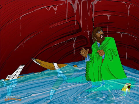 For three days and three nights, Jonah lived inside the enormous fish. It was the longest three days of his life! Jonah wished he had obeyed Yah. He prayed like he had never prayed before. <br/>Finally, Yah told the fish to spit Jonah out of its dark steamy belly. The fish opened its mouth and sneezed. <br/>Aaaachoo!  <br/>Jonah flew through the air like a spear and landed with a thump on the white, sandy beach. He was near enemy territory now, but he didn't care. He was ready to obey Yah. Jonah never wanted to live inside a fish again. – Slide 12