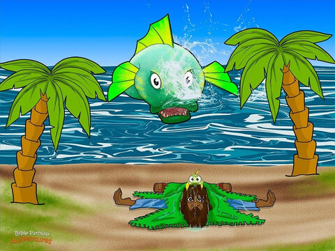 """Jonah lay sprawled on the beach like a starfish, covered in fish slime and sand. He was finally ready to listen to Yah. <br/>""""Jonah, get up and go to the great city of Nineveh,"""" said Yah.  """"Tell the people to repent."""" <br/>Jonah jumped to his feet. He didn't want to be known as the smelly prophet. Racing down to the water's edge, he washed his tunic in the calm blue sea. Then, he threw on his leather sandals and set off for Nineveh as fast as his wobbly legs would carry him. – Slide 13"""