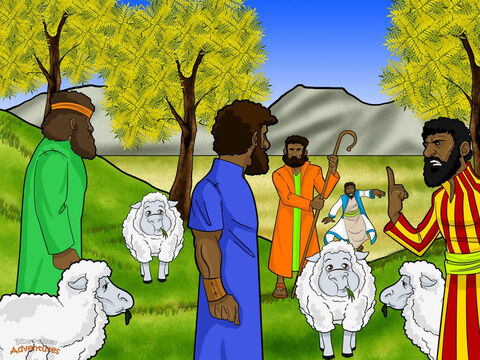 """Although Jacob and his family lived in tents, Jacob was a wealthy man. He owned great flocks of sheep and goats, and many camels and donkeys. Every day his family worked hard in the fields and took care of the animals. <br/>One day, the brothers took their father's sheep to graze in fields far away. After Jacob had not seen them for many days, he said to Joseph, """"Go to your brothers and see if they are keeping out of trouble."""" Joseph quickly obeyed his father. He threw on his beautiful coat and set out to find his brothers. <br/>When the brothers saw Joseph in the distance, one of them said, """"Here comes the dreamer. Let's kill him and say a wild animal ate him."""" The other brothers nodded. """"There is no one around. Who will know what we have done?"""" But Reuben, who secretly hoped to rescue Joseph later, shook his head. """"No, don't kill him. Let's throw him into a well instead."""" – Slide 3"""