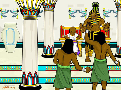 """Three days later Pharaoh held a magnificent birthday party at his palace. During the party, Pharaoh summoned the butler and baker. The butler got back his old job and the baker was hanged, just as Joseph had warned. <br/>Two years passed and Joseph was still in prison. One night, Pharaoh had two dreams that he could not understand. In one dream seven fat cows came to the River Nile to feed. Then seven thin cows came out of the river and ate the fat cows. Pharaoh woke up then fell back asleep and dreamed he saw seven fat ears of grain growing. Then seven thin ears of grain appeared. The thin ears ate the fat ears. <br/>When he woke the next morning, he summoned his magicians to the palace. """"Tell me what these dreams mean!"""" he shouted. But no matter how hard they tried, the magicians could not explain the meaning of Pharaoh's dreams. Suddenly, the butler remembered Joseph in prison. """"There is a Hebrew prisoner who understands dreams,"""" he said. """"Perhaps he can explain your dreams."""" Pharaoh's face lit up. """"My useless magicians don't know anything. Fetch me this Hebrew who understands dreams."""" – Slide 8"""