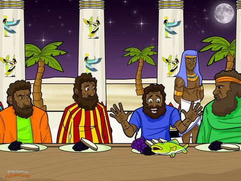 """Joseph's brothers set out for Egypt again, this time with Benjamin. They took many gifts for the governor, including double the amount of money to pay back what was hidden in their sacks. <br/>When Joseph saw Benjamin with his brothers, he let Simeon out of prison and invited everyone to eat with him. """"Prepare a huge feast,"""" he said to his servants. """"These men will eat with me tonight."""" The brothers looked nervously at each other. """"Why is the governor inviting us to a meal? Perhaps he put the money in our sacks so he can steal our donkeys and make us slaves."""" <br/>The men had nothing to fear. That night, Joseph held a feast for his brothers. But something unusual happened at the meal. He seated them at the table from oldest to the youngest, and served Benjamin five times more food than the others. """"How does he know our ages?"""" they whispered. """"And why has he given Benjamin more food?"""" – Slide 14"""