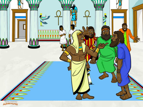 """At Joseph's house the brothers threw themselves on the ground before him, begging for mercy. """"How can we prove that we did not steal your silver cup?"""" Joseph looked down at the men. """"Did you think you could trick me?"""" he said sternly. <br/>Joseph pointed at Benjamin. """"From now on, Benjamin will be my slave. The rest of you can go home."""" Worried their father would be broken-hearted if they came home without Benjamin, Judah stepped forward and knelt at Joseph's feet. """"Do not keep Benjamin,"""" he said. """"Our father has already lost one son. Let me be your slave instead."""" <br/>Joseph was filled with love for his family. Because they cared for Benjamin, he was sure their hearts had changed and were no longer wicked and cruel. Taking a deep breath, he ordered all his servants from the room. It was time to share his incredible secret! – Slide 16"""