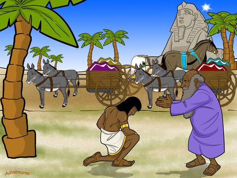 """The brothers hurried back to the land of Canaan to see their father. """"Joseph is still alive!"""" they told him. """"He is ruler over all of Egypt."""" At first Jacob did not believe them. But when he saw the wagons that Joseph had sent to take him to Egypt, he knew his sons were telling the truth. <br/>Jacob packed up everything he owned and set out for Egypt. On the way, Yah spoke to Jacob whose name He had changed to Israel. """"I will go with you to Egypt, and you will become a great nation. One day I will bring this nation home."""" <br/>As soon as Joseph heard his family had arrived in Egypt, he jumped in his chariot and raced off to meet them. When they met, Joseph kneeled before his father and wept for a very long time. """"Now I can die in peace,"""" said Israel. """"I have seen my son is alive!"""" <br/>Pharaoh kept his promise. He gave Joseph's family the best land in all of Egypt – the land of Goshen. They worked hard and became rich in every way. And for many years the Hebrew people lived peacefully in Egypt because of what Joseph had done for Pharaoh. – Slide 18"""