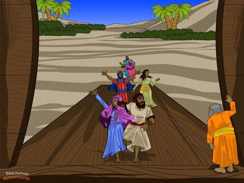 """Yah said to Noah, """"Take every kind of food into the Ark for you and the animals."""" Noah did exactly what Yah said. He collected dried fruit, vegetables, and fish for his family, and grain and hay for the animals. Noah's wife had been preparing meals for years, so she knew they had plenty to eat! <br/>""""Now,"""" said Yah. """"Take your entire family inside the Ark and get ready. I will gather the animals and bring them to you."""" Noah's family looked nervously at each other. What had Yah planned next? They quietly picked up their belongings and carried them into the Ark. <br/>And Noah waited for the animals to arrive. – Slide 7"""