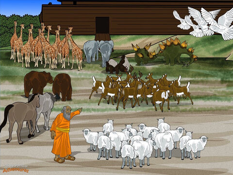 "Soon, thousands of animals gathered in front of the Ark, pushing and shoving each other for position. They roared, growled, squawked, and grunted. Imagine how noisy it was! <br/>Noah's mouth dropped open. There were so many strange animals he'd never seen before. ""Where do I start?"" cried Noah as he buried his face in his hands. He was very thankful for Yah's help. <br/>""Take seven pairs from every kind of clean bird and animal,"" said Yah. ""From every kind of unclean animal, only take one pair. After seven days, I am going to send water on the earth for forty days and forty nights."" – Slide 8"
