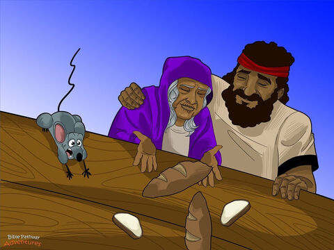 """Noah and his sons opened up the door of the Ark. They stared at their new home in amazement. """"The soil looks dry!"""" said Japheth, grinning at his mother. """"Maybe we can grow fresh vegetables again."""" <br/>Noah's wife clapped her hands. She thanked Yah with all her heart for saving her family. She couldn't wait to make everyone a proper meal.<br/>Yah said to Noah, """"Take your wife, your sons, and your son's wives, and leave the Ark. Bring all the animals and birds with you."""" Noah and his family looked nervously at each other. They were happy to leave the boat, but the flood had destroyed everything. How would they live in this strange, new land? – Slide 15"""