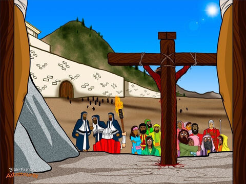 """That morning, people from near and far came to Jerusalem with their lambs for the Passover sacrifice. As they reached the city walls, many of them stopped and laughed at Yeshua. """"You were going to destroy the Temple and rebuild it in three days,"""" they said. """"Come down from the cross if you are the Son of God."""" <br/>Others stared at Yeshua in disbelief. They thought He had come to overthrow the Romans and become the king of Israel. But instead, He had been beaten and crucified. The people turned away and headed into the city, unable to look at the terrible sight. <br/>The religious leaders came to mock Him, too. """"He saved others, but He cannot save Himself. Let us see the king of Israel come down from the cross now!"""" The soldiers and robber insulted Him in the same way. """"If you are the Messiah, save yourself and us."""" But the murderer defended Yeshua, saying, """"He has done nothing wrong."""" Yeshua said to him, """"I tell you this day, you will be with Me in Paradise."""" <br/>Even though His enemies made fun of Him, Yeshua still loved them and was willing to die for their sin. In great pain, He prayed, """"Father, forgive them for they do not know what they are doing."""" – Slide 4"""