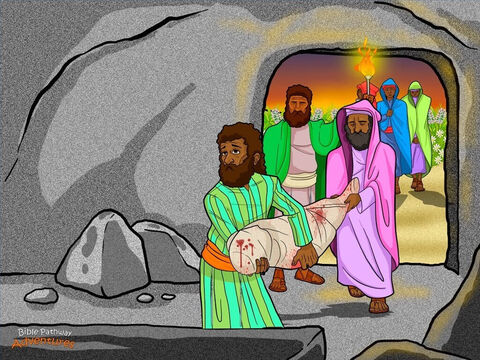 """That afternoon, a secret disciple of Yeshua named Joseph hurried to see the Roman governor. Joseph was a member of the Jewish religious council called the Sanhedrin. He had not agreed with their decision to have this man put to death. <br/>Plucking up courage, Joseph asked Pilate for the body of Yeshua. Pilate was surprised to hear that He had already died. """"Is this true?"""" he asked his soldiers. """"Crucified men usually take much longer to die."""" When Pilate heard that it was so, he ordered the body to be taken down from the cross and given to Joseph. <br/>With the help of his friend Nicodemus, Joseph carefully wrapped the body with a white linen cloth and placed it in his own new tomb cut out of solid rock. Opposite the tomb, the women who had come from Galilee watched to see where Yeshua's body was placed. Then they hurried into the city to prepare spices and perfume for His body. <br/>Just before the sun began to set, Joseph and Nicodemus rolled a large stone in front of the tomb so no one could go in or out. At the same time, the sky over Jerusalem filled with smoke from ovens roasting thousands of Passover lambs. People gathered to eat the lamb and to remember how God had helped their descendants escape from slavery in Egypt. – Slide 7"""