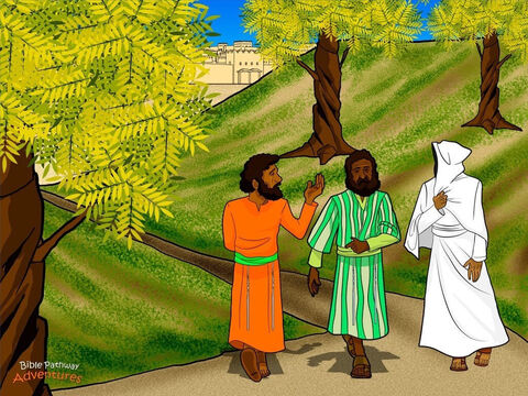 """That same day, two disciples left Jerusalem for a village called Emmaus. As they walked along the road, the men talked about all the strange and amazing things that had happened during the Passover. <br/>A stranger soon joined them on the road. """"Why are you sad?"""" He asked. The disciples stopped. """"Have you not heard about the death of the great teacher Yeshua? He taught many people about God's Kingdom. We believed He would set us free from our Roman rulers, but the religious leaders demanded that He be put to death."""" <br/>The stranger shook His head. """"You foolish ones. It is written in the Scriptures that the Messiah will die for His people's sin."""" Then using the words of Moses and the prophets, He explained how and why the Messiah had to die. The disciple's hearts filled with joy. <br/>When they reached Emmaus, the two disciples invited the stranger in for a meal. As He blessed the food, they recognized that the stranger was Yeshua. But in an instant, He disappeared. The disciples nearly jumped out of their skin with excitement! They raced back to Jerusalem to tell the other disciples that the Master had risen from the dead. – Slide 12"""