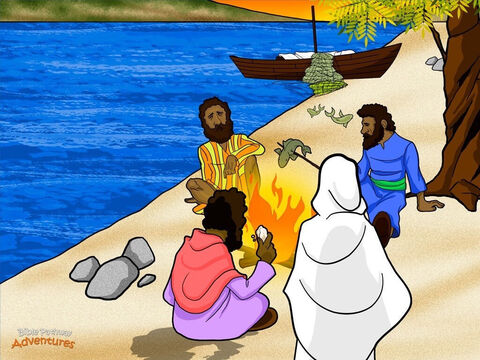 """When the disciples reached the shore, they saw a fire with fish on it and bread. """"Bring some of the fish you have just caught,"""" said Yeshua. Their stomachs grumbling, the hungry disciples handed Him fish from their net. None of them dared ask Him, """"Who are you?"""" They knew in their hearts it was their risen king. <br/>That morning the disciples sat on the shore and ate a delicious breakfast of fresh fish and bread. After they had eaten, Yeshua turned to Peter. """"Do you love Me?"""" he asked him three times. <br/>Peter looked at the ground. He still felt ashamed that he had denied knowing the Messiah. """"Yes, you know that I love you,"""" he said each time. """"Then feed My sheep,"""" said Yeshua. He wanted Peter to care for and teach His people, Israel. <br/>The Messiah appeared to His disciples many times after He rose from the dead. He talked with them again and again about the Kingdom of God and explained how the Scriptures all pointed to Him. And He gave them important instructions. """"Go everywhere and make disciples. Teach them to do everything that I have taught you. And remember, I am always with you, even to the ends of the earth."""" – Slide 15"""