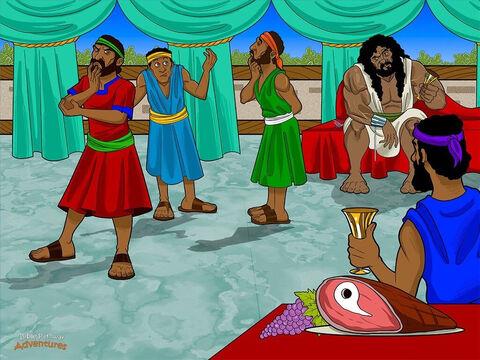 "Later that week in Timnah, the wedding celebrations began. Samson's father-in-law invited thirty young men to join them. The musicians thumped their drums and the guests danced and ate until they were full. <br/> To pass time, Samson told them a riddle. ""Va yomer lahem me ha ochel yatsa maachal, u me az yatsa matok,"" which meant, ""Out of the eater came food, out of the strong came sweetness."" <br/> ""If you can solve the riddle,"" said Samson, ""I will give you thirty sets of fine clothes. If you cannot solve it, you must give me thirty sets of clothing."" <br/> For three days, the young men tried to solve the riddle. But no matter how hard they tried, they could not find the answer. Glaring at Samson's bride, they said, ""This Israelite is making us look like fools. Get us the answer, or we will burn down your father's house and you in it."" – Slide 5"