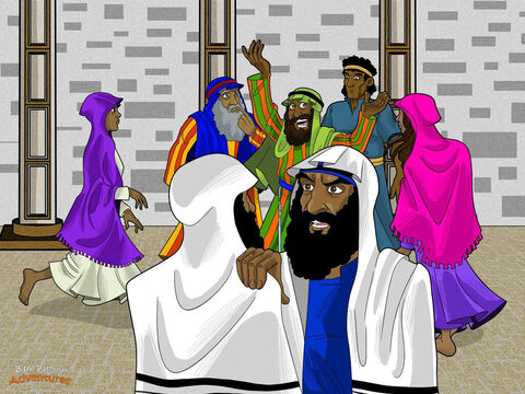 "A long time ago in Jerusalem, there lived a religious leader called Paul. Paul didn't believe that Yeshua* was the Messiah. He did everything he could to hurt Yeshua's followers and to put them in prison. But after God spoke to Paul on the road to Damascus, his life changed forever. <br/>From that time on, Paul traveled from place to place, teaching the Scriptures and telling people about Yeshua.  <br/>But many religious leaders in Jerusalem didn't believe Yeshua was the promised Messiah like Paul now did. They wanted Paul to stand trial for teaching lies. ""Paul was one of us, and now he's speaking against our laws and traditions,"" they said to each other. ""We must stop him as soon as possible!"" <br/>*Did you know that Yeshua is the Hebrew word for Jesus? – Slide 1"