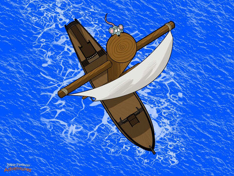 "The ship left Myra and sailed across the sea toward Rome. But the weather soon changed and the winds began to blow harder and harder. Paul and Julius stood on the deck and stared at the sky. ""I don't like the look of those clouds,"" said Julius.  <br/>The ship crawled through the water as slow as a snail. ""This wind is too strong,"" the captain shouted to the sailors. ""Let's sail towards the coast of Crete and find shelter from the storm."" <br/>More clouds rolled across the sky, and the winds blew even harder. No matter how hard the sailors worked they couldn't sail the ship any faster. – Slide 4"