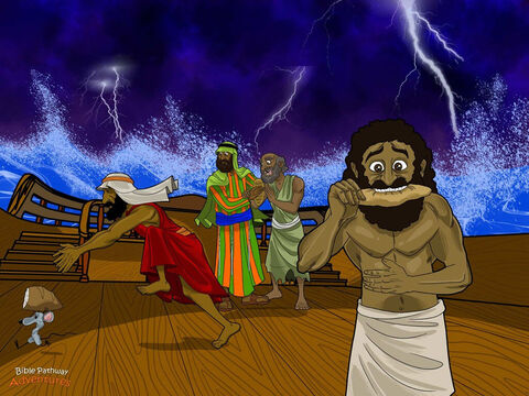 "Just before dawn, Paul gathered the men together on the deck. ""Please eat something,"" he told them. ""You need to stay strong. Remember that God has promised to save your lives. No one will die."" <br/>The men's stomachs grumbled loudly. Nobody had eaten for days and they were as hungry as wolves! Paul took some bread, blessed it, and began to eat. <br/>As dawn broke, the men finally saw land. They stared silently at the sandy beach across the bay. ""See that strip of sand,"" the captain told the sailors. He pointed to the sandy beach. ""Steer the ship towards that shore."" – Slide 12"