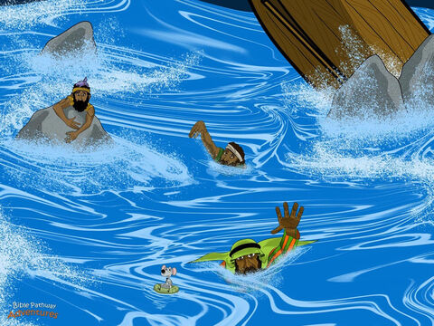 "The sailors quickly obeyed. They cut off the anchors and untied the oars, and the ship lurched forward through the crashing waves. Crunch! The ship crashed into a rocky reef, just as the captain had feared, and began to tear apart on the rocks.  ""Let's get out of here!"" said the sailors. Their hearts racing with fear, they swam toward the beach as fast as they could. <br/>""Kill the prisoners so they don't swim away and escape!"" the soldiers shouted to Julius. But Julius shook his head. ""No, I must save Paul's life. He must stand before Caesar in Rome."" <br/>One by one, Paul and the prisoners dived into the sea and swam across the bay to the sandy beach. They were tired of this watery adventure, and they couldn't wait to reach dry land! – Slide 13"